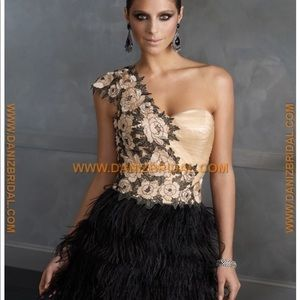 Terani Couture Cocktail Ostrich feather dress.